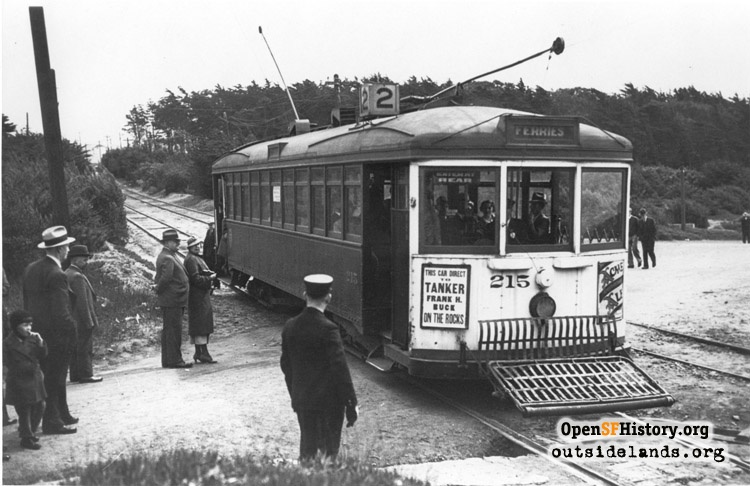 Sutro Baths. Streetcar on private right-of-way at Merrie Way