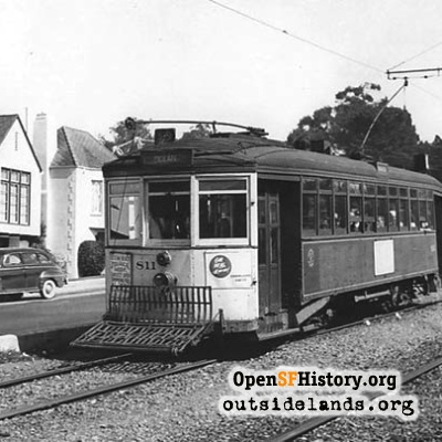 12 line streetcar on Sloat Boulevard, 1948