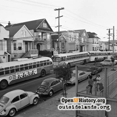 Muni buses on 6th Avenue, 1970s.