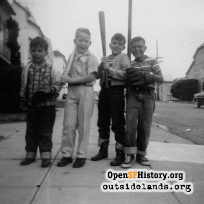 Boys with bats and gloves, early 1960s