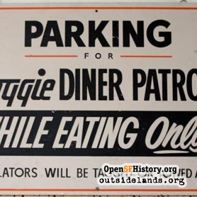 Doggie Diner Parking Lot Sign