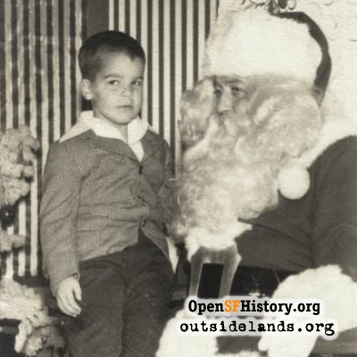 Frank Dunnigan on Santa's lap, 1956.