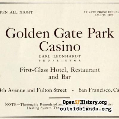 Golden Gate Park Casino Ad