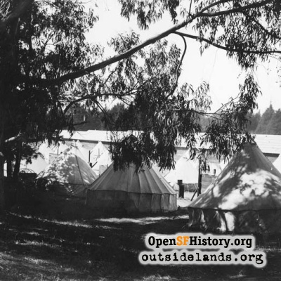 Refugee tents and barracks in Speedway Meadow, 1906