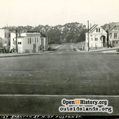 Stanyan Street looking north at McAllister, 1927