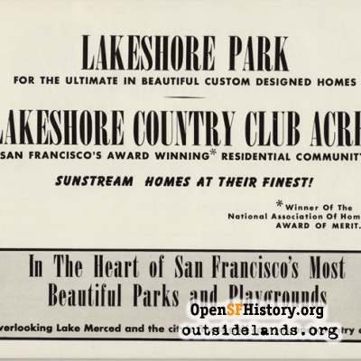 Ad for Lakeshore Park and Country Club Acres