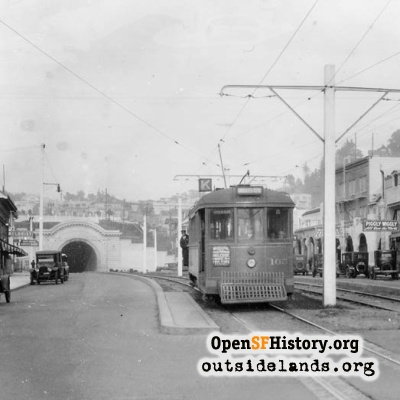 K-Ingleside streetcar on West Portal Avenue, 1927