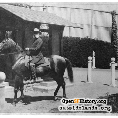 Adolph Sutro on horseback at Sutro Heights