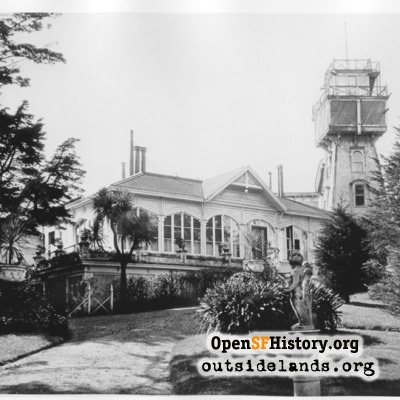 Sutro Heights. View of Adolph Sutro's residence and observatory tower