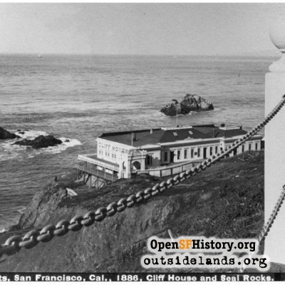 First Cliff House and Seal Rocks viewed Sutro Heights