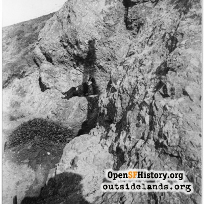 Sutro Heights. Adolph Sutro posing on cliff face