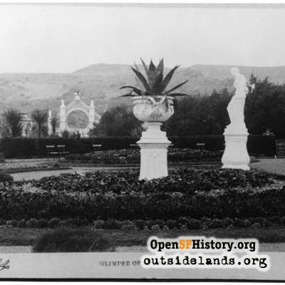 Sutro Heights. Main Entrance Gates, urn, and Venus de Milo
