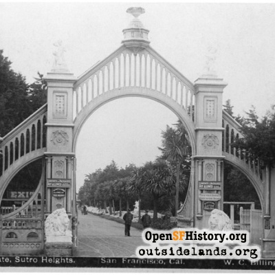 Sutro Heights. Main Entrance Gates from Cliff Avenue