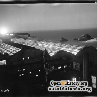 Sutro Baths. Night view of Baths and Seal Rocks