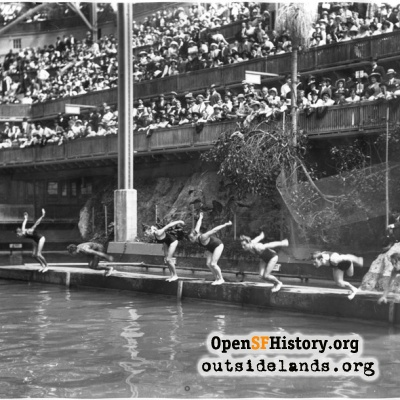 Sutro Baths. Spectators and swimmers at Pacific Coast Championships
