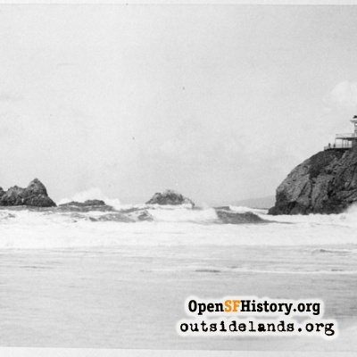 First Cliff House and Seal Rocks from Ocean Beach