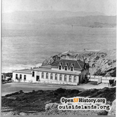 Cliff House. Cottage on Cliff Avenue with Marin hills in distance