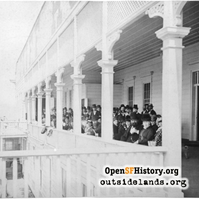 First Cliff House. Patrons on the back veranda