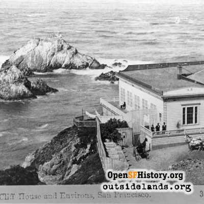 First Cliff House and Seal Rocks looking west from future Sutro Heights