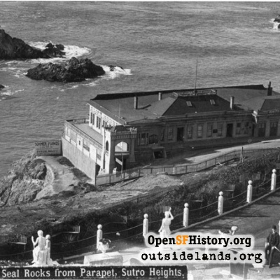 First Cliff House and Seal Rocks from Sutro Heights observatory