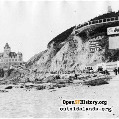 Second Cliff House and Sutro Heights, viewed from Ocean Beach