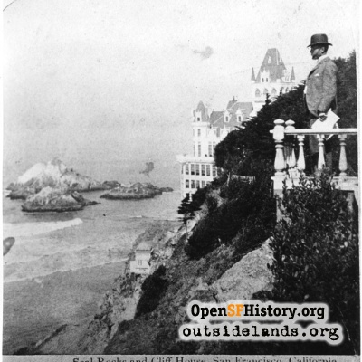 Second Cliff House and Seal Rocks, viewed from Sutro Heights