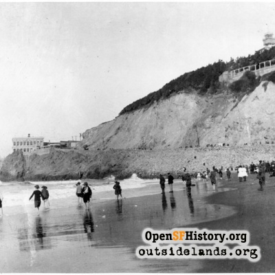Third Cliff House and Sutro Heights, viewed from Ocean Beach