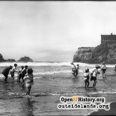 Ocean Beach. Children on beach below Cliff House