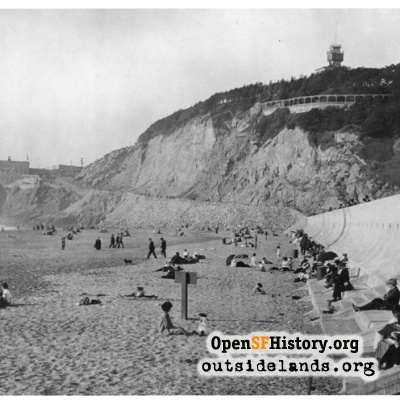Ocean Beach, looking north towards Cliff House & Sutro Heights