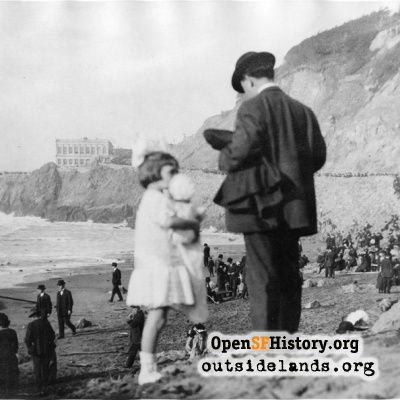 Ocean Beach. Visitors on dunes below Cliff House