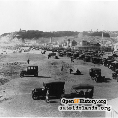 Ocean Beach. View of cars on Great Highway at Fulton St.