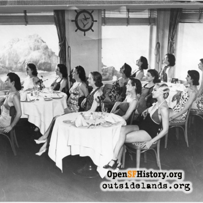 Cliff House. Bathing beauties seated in main dining room