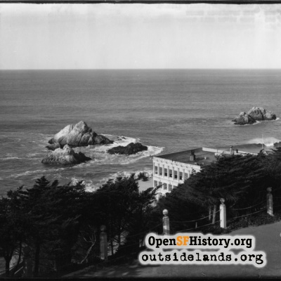 Third Cliff House and Seal Rocks from Sutro Heights parapet