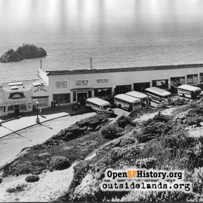 Third Cliff House, Gift Shop and busses on Point Lobos Ave.