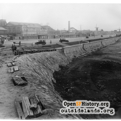 Ocean Beach. Construction work on rock seawall and esplanade