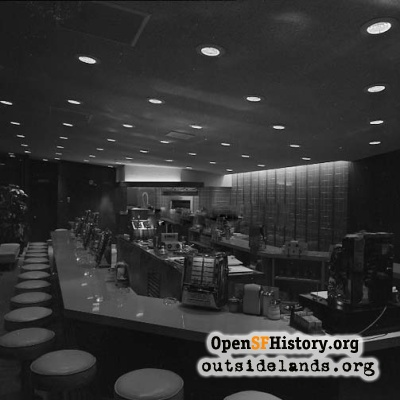 Zim's Broiled Hamburgers interior, 1957
