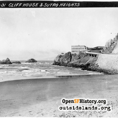 Third Cliff House and Seal Rocks from Ocean Beach