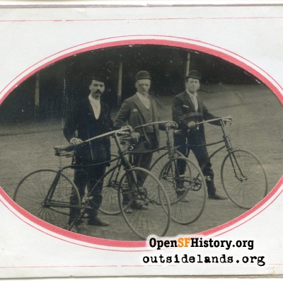 Three Men with Bicycles