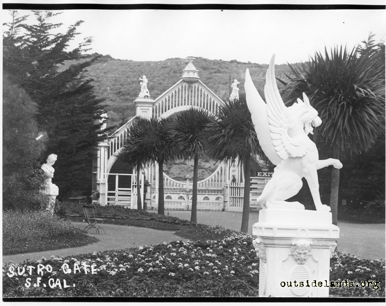 Sutro Heights, main gate and griffon statue.