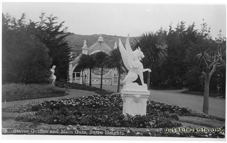 Main Entrance Gate & Griffon Statue, Sutro Heights.