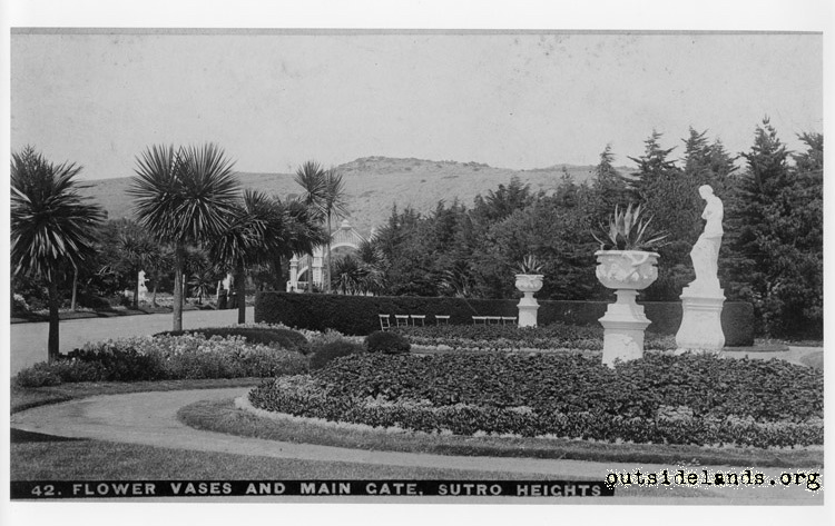 Sutro Heights. Main Entrance Gate, gardens, Venus dei Milo