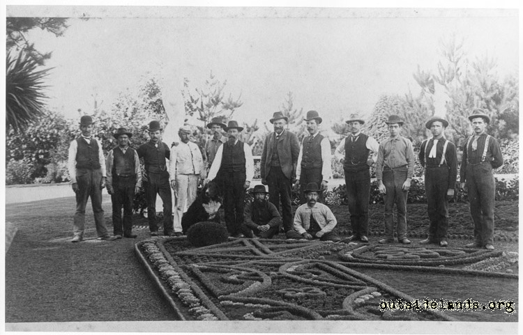 Sutro Heights. Employees posed near carpet beds