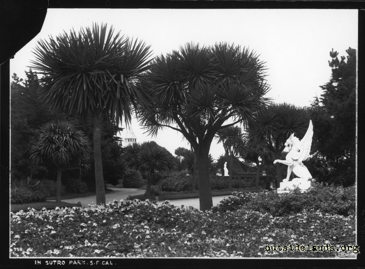 Sutro Heights. Garden and Griffon statue.