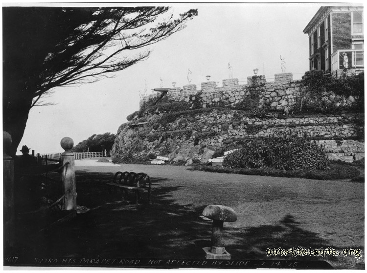 Sutro Heights. View of parapet and tank house