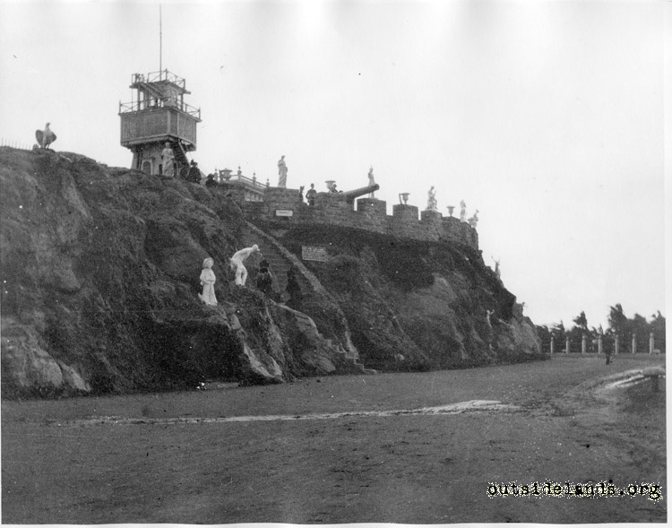 Sutro Heights. Parapet viewed from perimeter drive