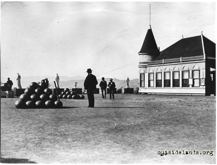 Sutro Heights. Cannonballs and photo studio on Parapet