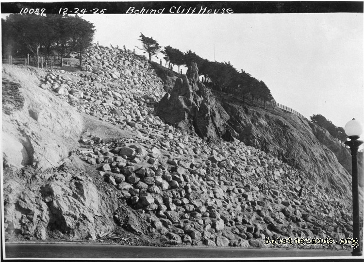 Point Lobos Avenue and fake rock below Sutro Heights