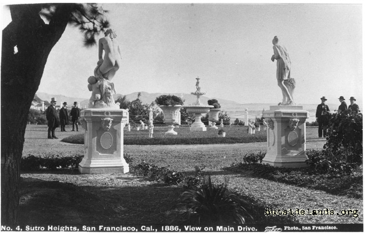 Sutro Heights. Statuary and fountain in carriage circle