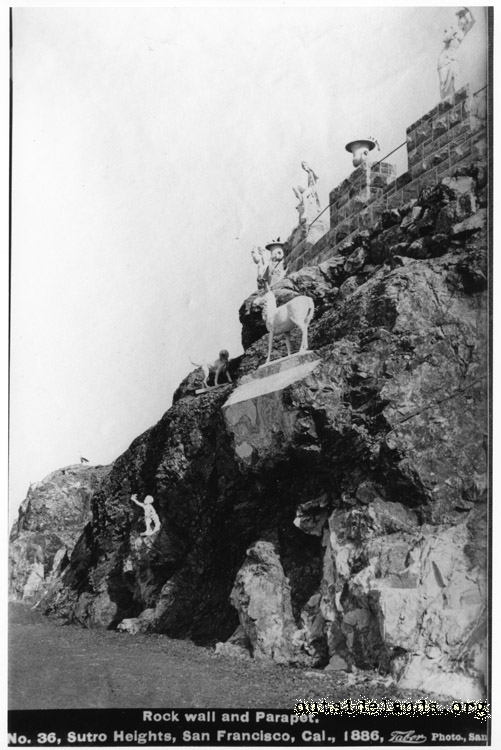 Sutro Heights. Rock wall and statuary below Parapet