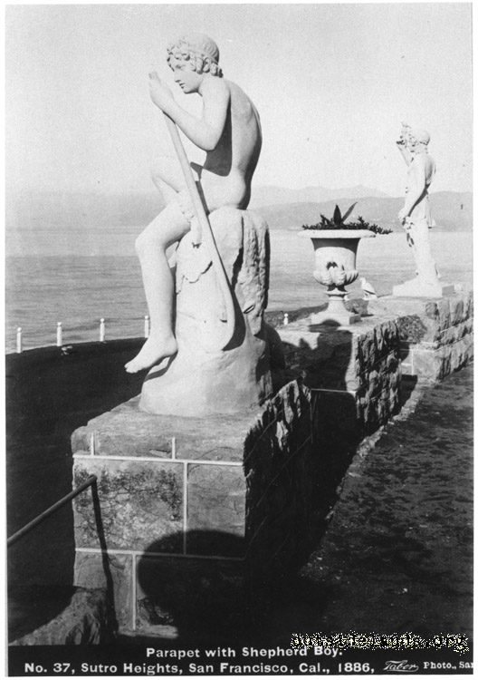 Sutro Heights. Statues of Shepherd Boy and Spring on parapet